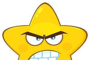 Angry Yellow Star Character