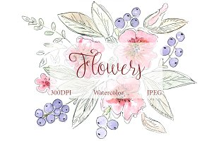 SALE! Watercolor Inked Flowers