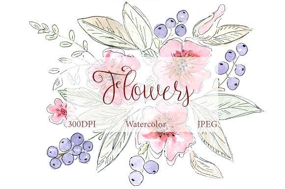 SALE! Watercolor Inked Flowers