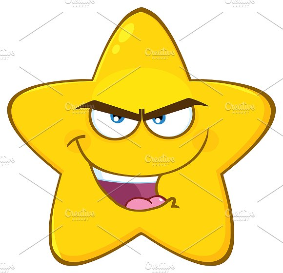 Evil Yellow Star Character  in Illustrations