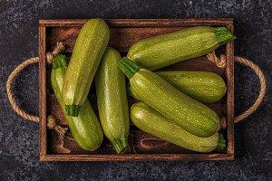 green zucchini courgettes