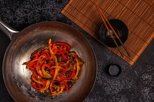 asian wok with stir fry vegetables