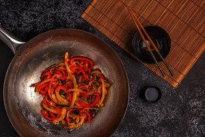 asian wok with stir fry vegetables