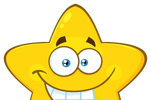 Yellow Star With Smiling Expression
