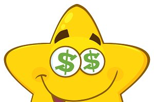 Yellow Star With Dollar Eyes