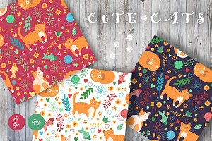 Cute cats. Seamless patterns