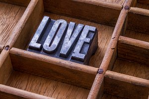 Typesetter drawer: 'LOVE'