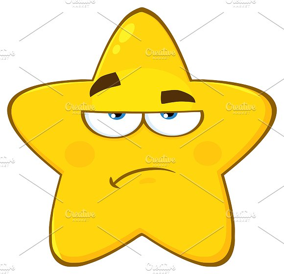 Yellow Star With Sadness Expression
