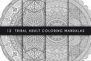 12 tribal adult coloring mandalas