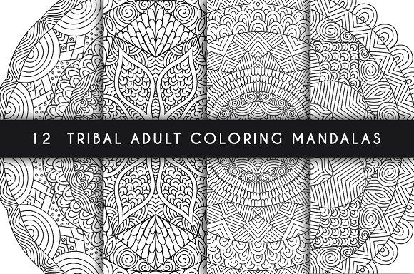 12 tribal adult coloring mandalas ~ Illustrations ~ Creative Market
