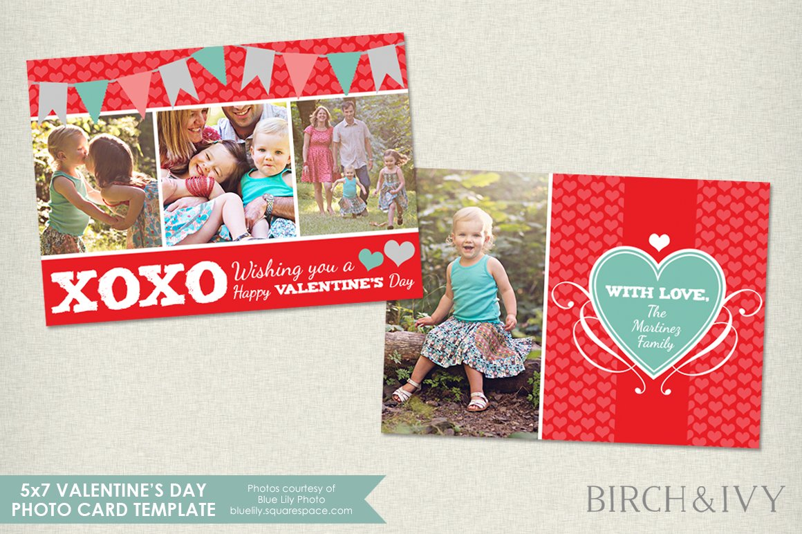 Valentines Day Photo Card Template Card Templates Creative Market