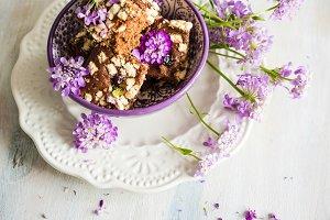 Brownie dessert and summer flowers