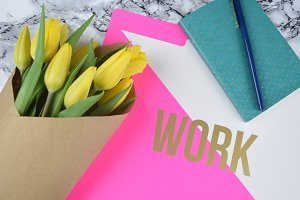 Bright office accessories flatlay