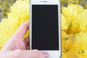 iPhone mock up with yellow flowers