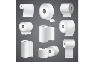 Realistic toilet paper roll mock up set isolated vector illustration blank white 3d packaging kitchen towel template