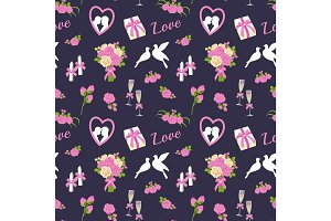 Vector wedding ceremony day hand drawn love seamless pattern illustration background