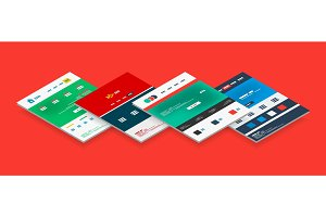 Isometric concept of web site design templates