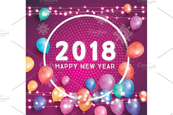 happy new year 2018 greeting card illustrations