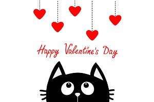 Valentines Day. Black cat Red hearts