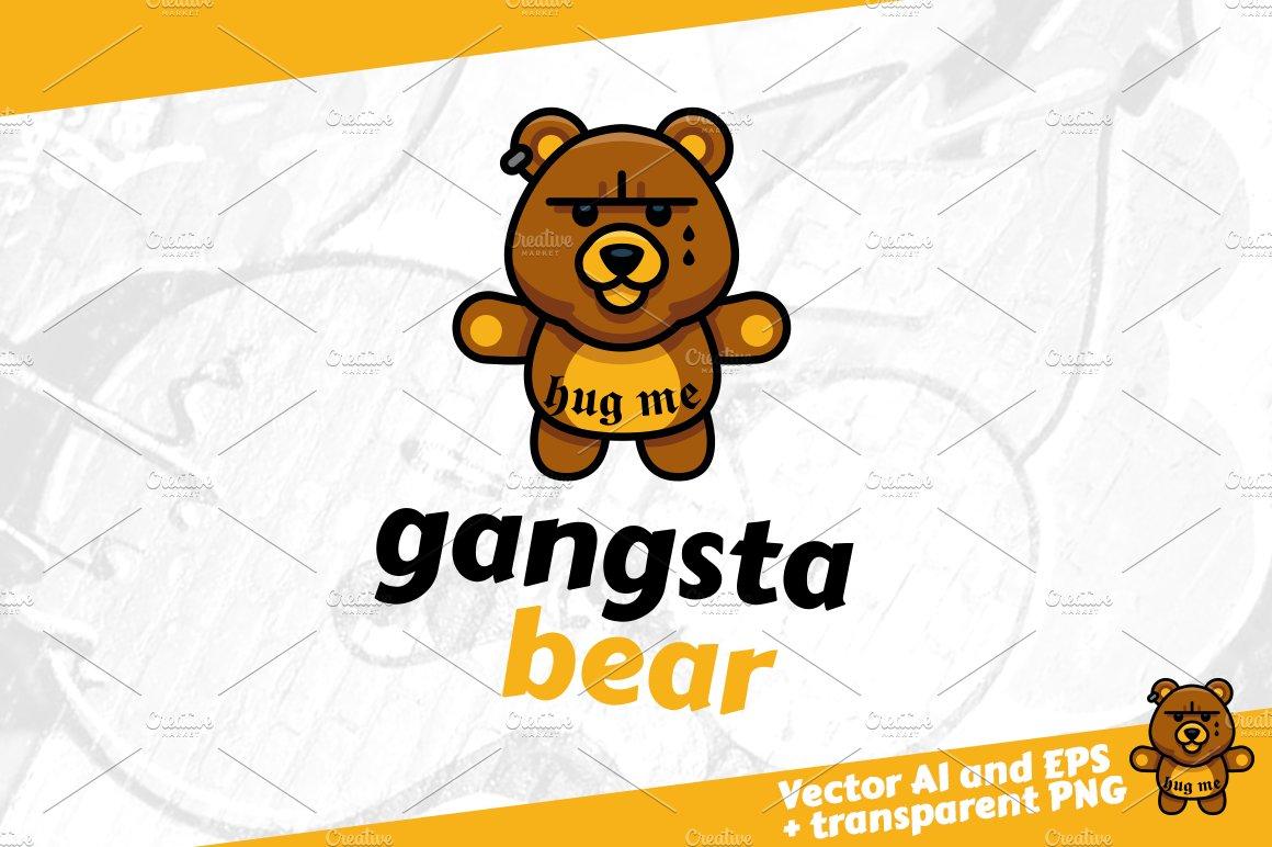 gangsta bear gangster bear logo logo templates creative market