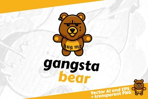 Gangsta Bear - gangster bear logo