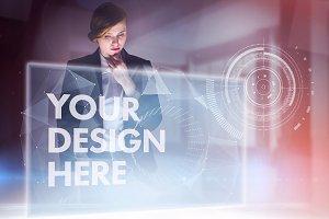 Businesswoman Using Interface Mockup