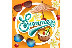 Summer banner design. Vector 3d background.