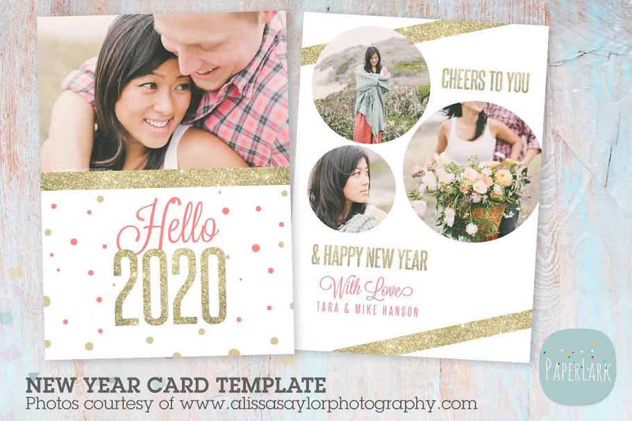 AL001 New Year Card in Postcard Templates