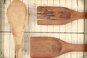 Wood Utensils on Wire Rack
