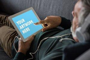 Man Using Tablet Mockup