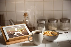 Tablet In Kitchen Mockup