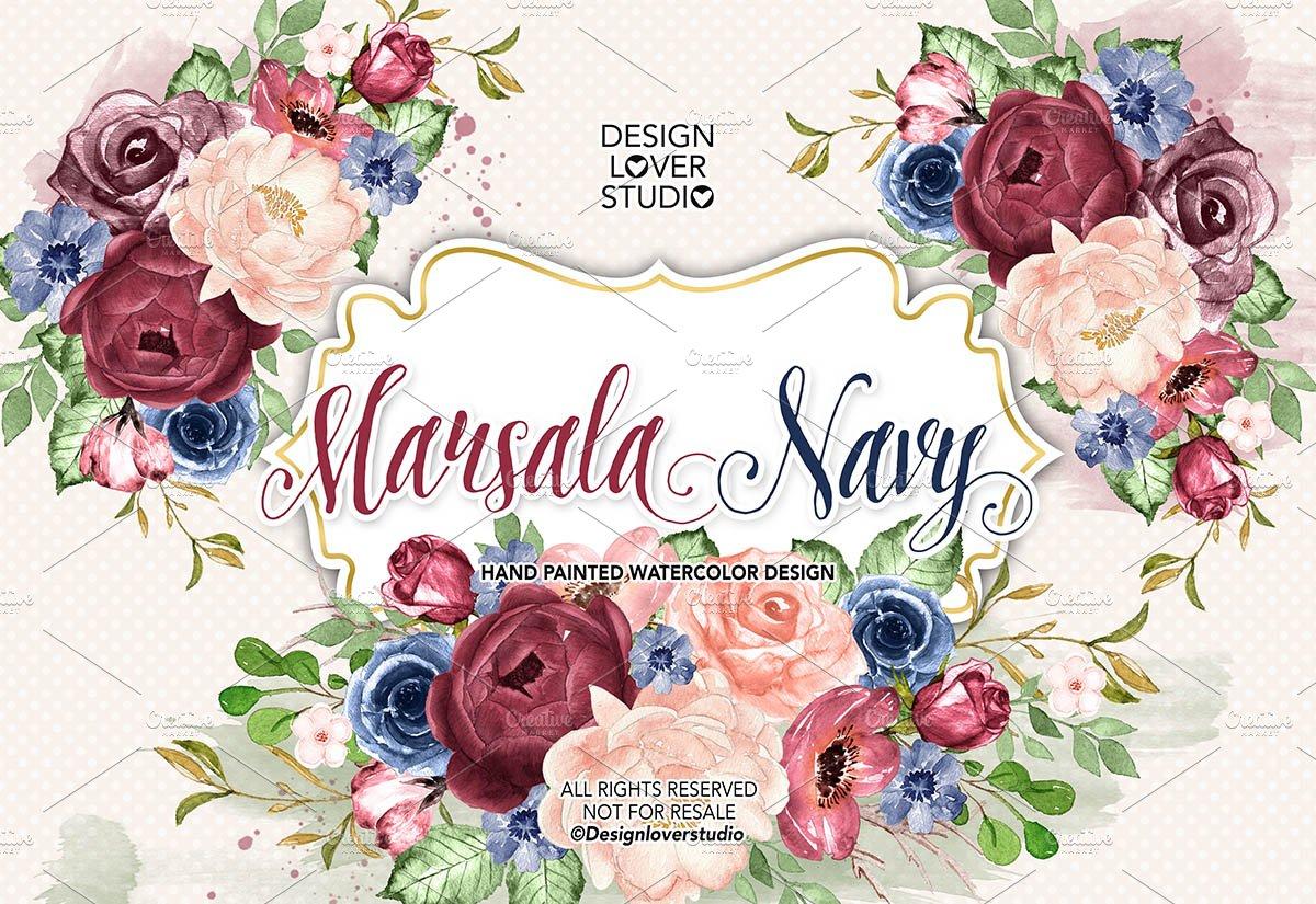 Marsala Navy blue design ~ Illustrations ~ Creative Market