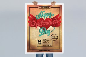 Holding Valentines Poster Mockup