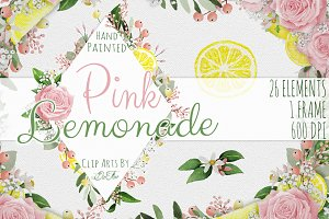Pink Lemonade Watercolor Clip Art