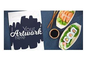 Menu With Sushi Mockup