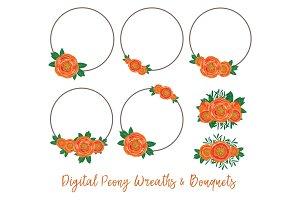 Digital peony wreaths & bouquets