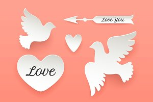 Set of paper objects, heart, pigeon, bird, arrow