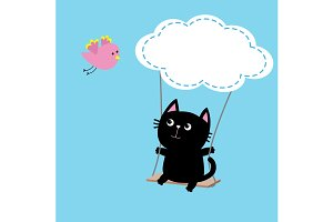 Cat ride on the swing. Cloud shape.