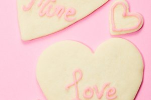 Valentine's Day Cookies on Pink