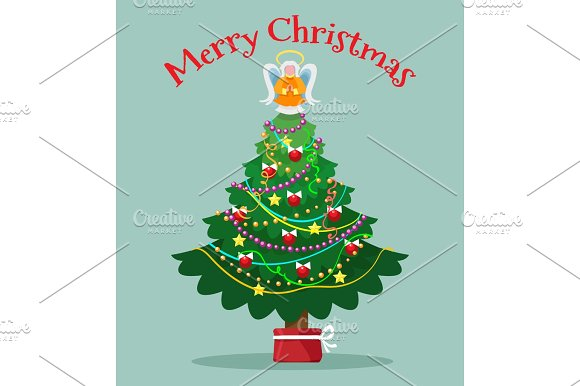 Christmas Tree With Topper Fairy Card
