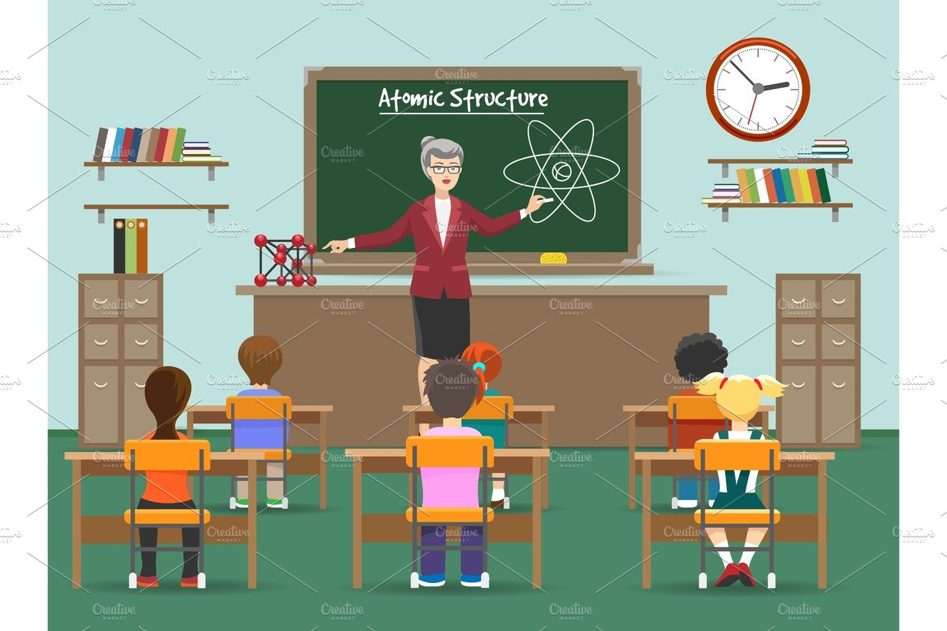 Physics lesson with kids in classroom