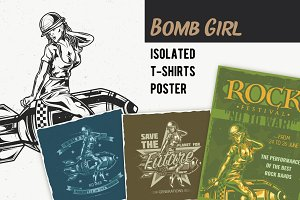 Bomb Girl T-shirts And Poster Labels