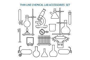 Thin line chemical lab equipment
