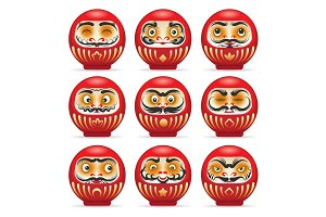 Red daruma japanese dolls set
