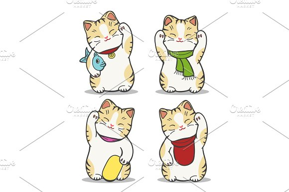 Maneki Neko Japan Cat Set