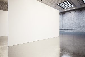 Empty gallery interior with white canvas and bricks. 3d render