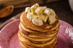 American pancakes with banana, chocolate