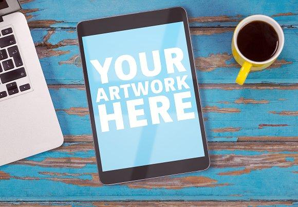 Tablet On Desk Mockup