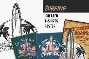Surfing board T-shirts Labels