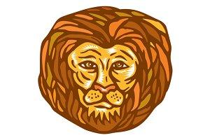 Lion Head Woodcut Linocut